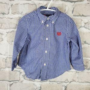 Chaps Button Down Gingham Shirt 18M Blue White